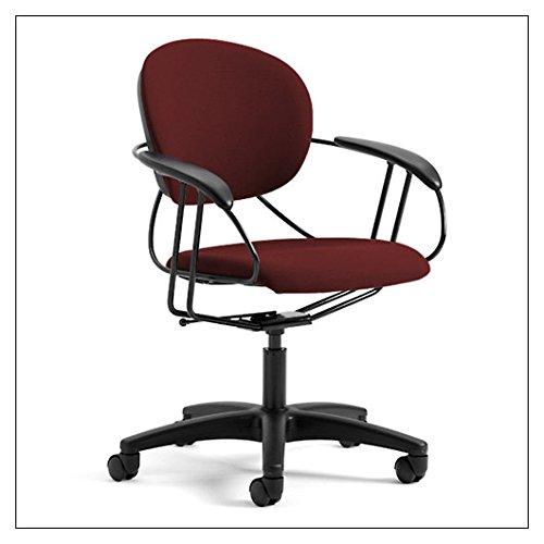 Uno Multipurpose Chair: Mid Back - Buzz2 Burgundy - Standard Carpet Casters (Steel Chair Swivel Flex)