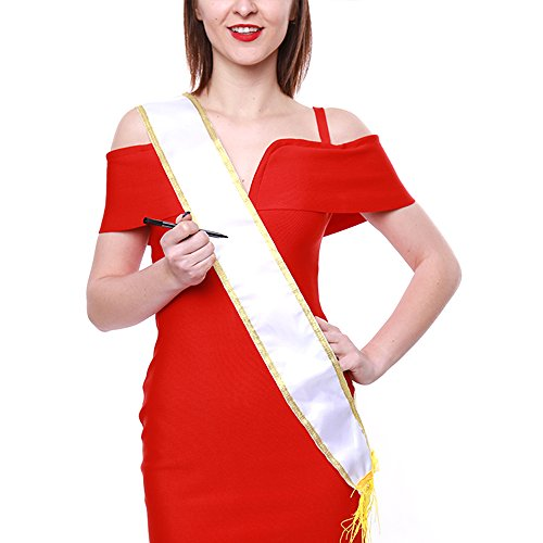 Crazy Night Blank Pure White Customizable Satin Sashes-Pack of -