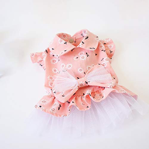 CYULING Summer Pet Dress, Dog Clothes Puppy Dog Princess Tutu Dresses Fashion Cat Cute Vest Skirt White Lace Skirts,S