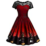 Vintage Women Dress,Gallity Womens Halloween Floral Print Bodycon Sleeveless Swing Sundress Winter Casual A Line Pleated Ball Gown Party Dress (Red, XL)