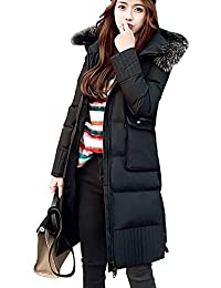 Zoulee Women's Winter Fur Collar Warm Down Coat Thick Cotton Coat With Hooded