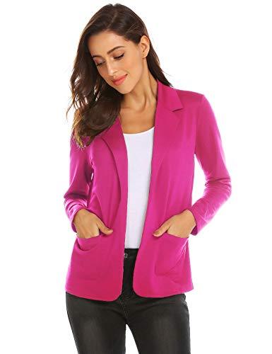 (Zeagoo Women Stretch Casual Blazer Solid Color Lightweight Jacket Open Front Cardigan (Fuchsia, XL))