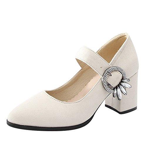 Mee Shoes Women's Sweet Mid Block Heel Buckle Mary Janes Beige vZrO6EYwi