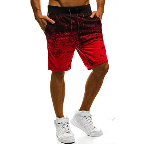 (Joggers for Men Running Performance Walkshorts Cross fit Stretch Athletic Short Pants Drawstring Sportswear Red)