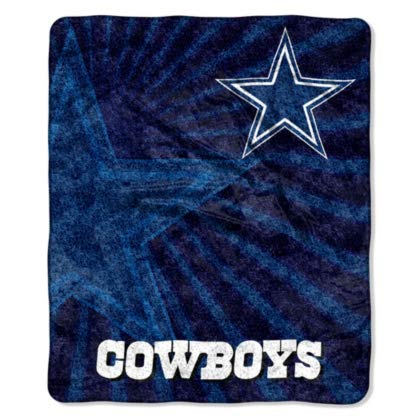 Officially Licensed NFL Dallas Cowboys Strobe Sherpa on Sherpa Throw Blanket, 50