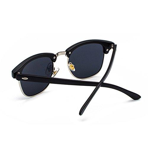 Plateado lentes y Matt sol de Medio Inlefen Mujeres Gris marco retro UV400 polarizados hombres Negro Gafas 4zfxnUw6Rq