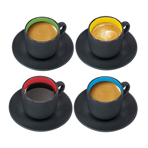 Espresso Cups with Saucers by Bruntmor - 4 ounce - Matte Black Exterior, Solid Color Interior - Set of 4