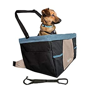 Kurgo Rover Booster Dog Car Seat with Seat Belt Tether, Black/Blue 46