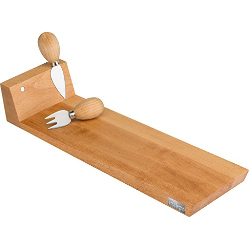 h Wood Narrow Cheese Cutting Board & 4 Knives, Magnetic Knife Bar at One End, Luxurious Italian Parma Collection by Master Craftsmen, Ecofriendly, Natural Finish, Narrow ()