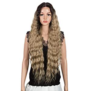 "Joedir Lace Front with 1.5""x4"" Simulated Scalp Wig 30'' Long Wavy Heat Resistant Synthetic Wigs For Black Women 130% Density(Ombre Black to Honey Blonde)"