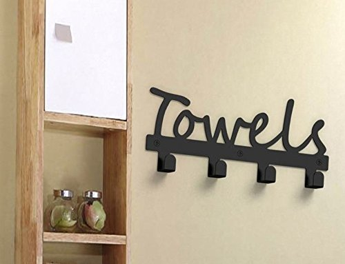 Fasmov Wall Mounted Towel Rack with 4 Hooks