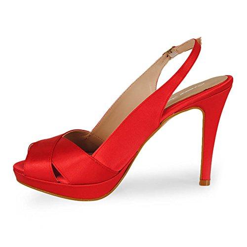 Esther Mendez Peep Toe Destalonado Raso Rojo