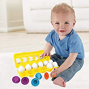 Color & Shape Sorter Matching Egg Set Educational Learning Toy Kids Gift 12pcs, Toys and Hobbies (As Show)