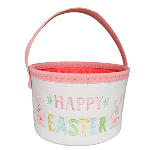 Happy Easter Canvas Embroidered Basket Pink/White - Spritz - 10