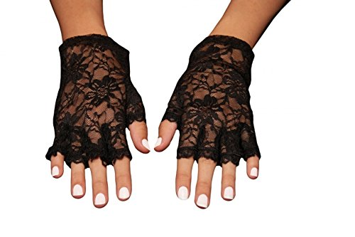 Elegant Stretch Lace Fingerless Evening Gloves - Wrist Length (One Size; Black) ()