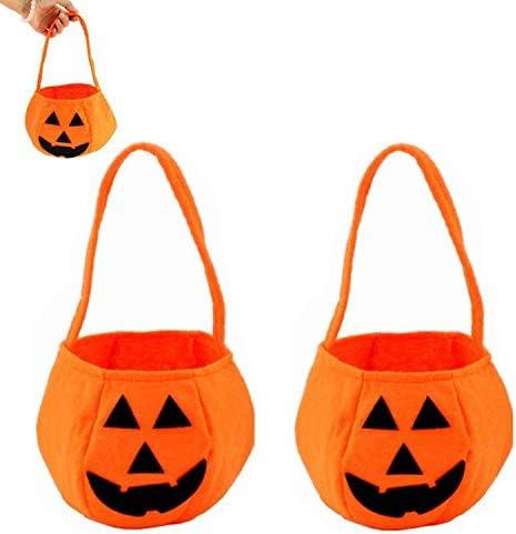 Xinmeng 2 Piezas Bolsa de Dulces de Calabaza de Halloween Bolsas de Trucos O Golosinas Bolsa de eRgalo con Asas para Fiestas Bolsillo Organizador para Halloween Fiesta Decoraci/ón