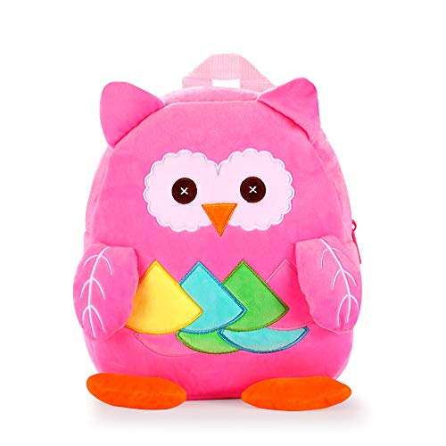 White Dolphin Cute Toddler Backpack,Cartoon Cute Animal Plush Backpack By-My-Side Safety HarnessToddler Mini School Bag for Kids Age 1-3 Years Old (anti-lost-desing,Pink owl), Small