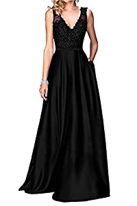 Little Star Women's Long Satin Prom Dresses 2018 V Neck Evening Gown A Line