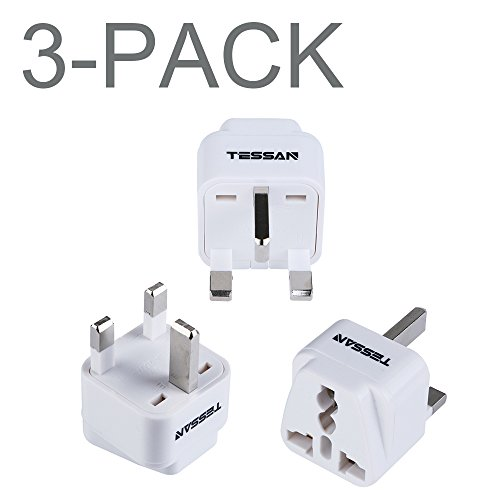 Price comparison product image TESSAN Grounded Universal Travel Plug Adapter USA to UK Travel Prong Converter Adapter Plug Kit for UK (TypeG) - 3 Pack(WHITE)