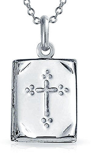 Book Bible Religious Cross Locket Pendant 925 Silver Necklace 18 Inch