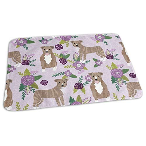 (Pitbull Brindle Purple Dog Breed Florals Baby Portable Reusable Changing Pad Mat 19.7x27.5 inches)