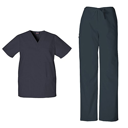 - Cherokee Workwear Unisex V-Neck Top 4876 & Drawstring Pant 4100 Scrub Set (Pewter - XX-Large/XXL Short)
