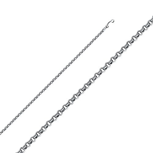 Ioka - 14K White Gold 3mm Hollow Classic Rolo Chain Necklace - (Classic Rolo Chain)