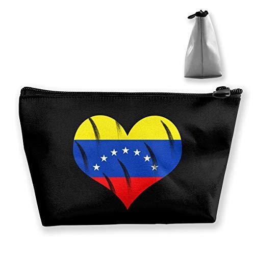 Love Heart Flag Venezuela - Love Venezuela Flag Heart Retro Small Travel Makeup Pouch Toiletries Storage Organizer Bags