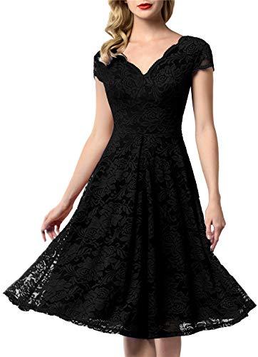 AONOUR 0052 Women's Vintage Floral Lace Bridesmaid Dress Wedding Party Midi Dress Cap Black S