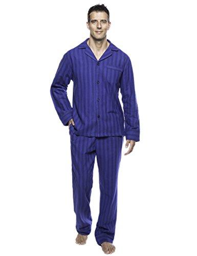 Men's Premium Flannel Pajama Set - Stripes Tonal Blue - 2XL