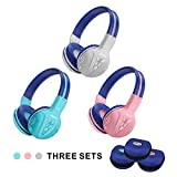 3 Pack SIMOLIO Bluetooth Headphones for Kids,Hearing Protection Children Headphones Wireless,Bluetooth Kids Headphone with Music Share,Kids Safe Headsets for Girls,Boys,Wireless Headphone for Toddlers