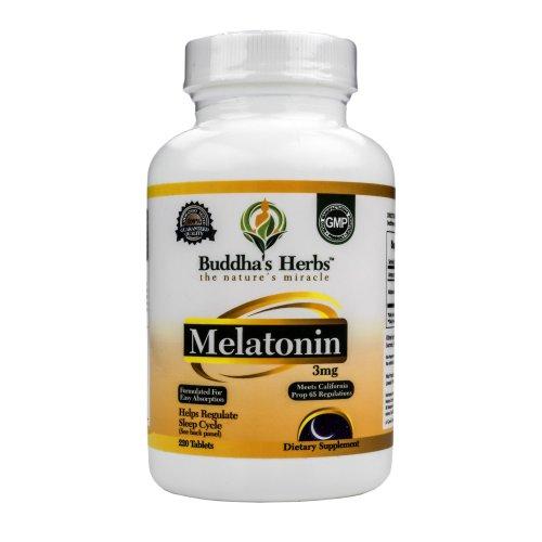 Herbes prime Mélatonine 3 mg de Bouddha - Sleep Aid - 220 Comprimés