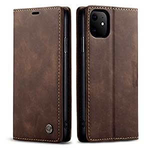 bounceback® apple iphone 11 case cover p.u leather flip back stand case/cover for apple iphone 11 – coffee brown – Brown