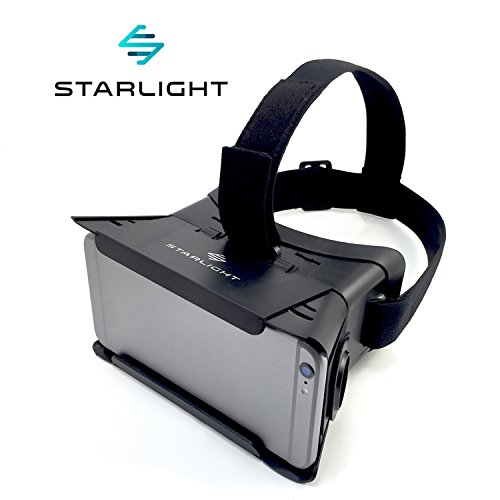 "Starlight Virtual Reality VR Headset: 3D Adjustable Goggle Glasses for 3.35"" - 6.5"" iPhone or Android Smartphones and Google Cardboard Mobile VR Apps; Focal and Pupil Distance Adjustment, AR or VR use"