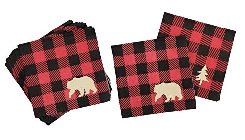 Lumberjack Party Napkins - Buffalo Plaid Birthday Baby Shower Supplies 16 Set
