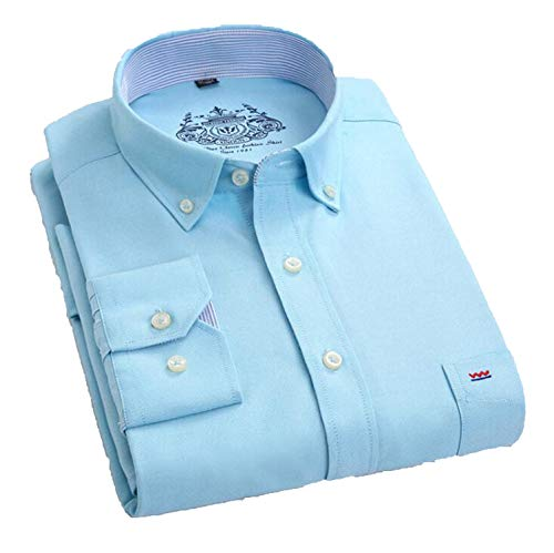 Men Shirt Long Sleeve Brand Business Casual Oxford Slim Fit Shirts4XL X112,Green,Asian Size XXL