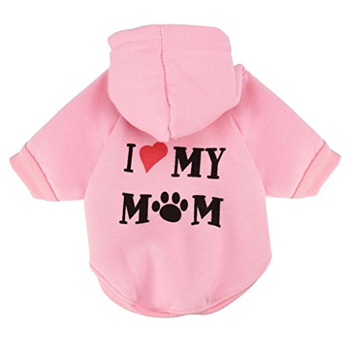 Howstar Pet Clothes, Puppy Hoodie Sweater Dog Coat Warm Sweatshirt Love My Mom Printed Shirt (M, Pink)]()