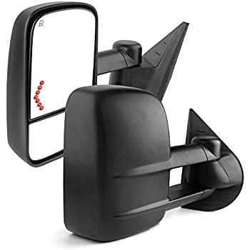 Towing Mirrors for 07-13 Chevrolet/GMC/Cadillac Silverado/Sierra Pair Set Power Tow Heated Telescoping with LED Arrow Signal Light Side Mirrors (just 07 NEW Body)