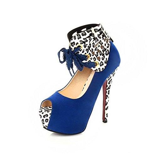 aguja Azul Mujeres Sin Tacón Sandalia Sólido Peep cordones Sintético de AllhqFashion nvw4FYYq