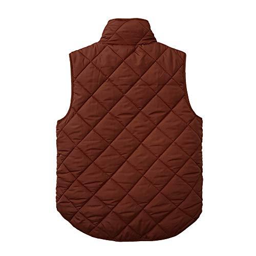 Marron Gilet Unie Poches Manches Coton sans Hiver Glissire Femmes Veste Couleur Montant Col des Veste Automne DEELIN xaAnUqSRw