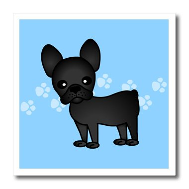Dog Paws White Case - 3dRose ht_25320_2 Cute Black Brindle French Bulldog Blue with Pawprints-Iron on Heat Transfer for White Material, 6 by 6-Inch