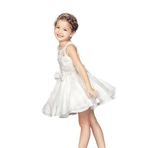 Hotlive MS Flower Girl's Back Hollowed-Out Lace Dress,