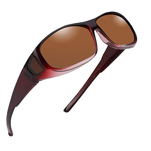 Fit Over Sunglasses - Polarized for Women Wrap Around Over Prescription Glasses (Wine Frame Brown ()