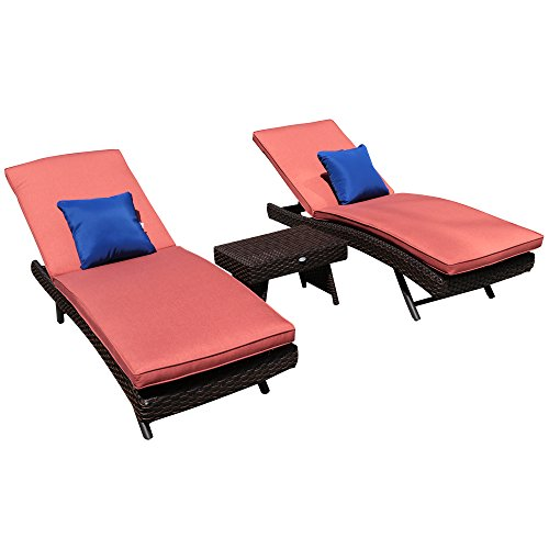 PATIOROMA Outdoor 2 Pack Adjustable Brown PE Wicker Chaise Lounge Chairs with Cushions, Throw Pillows, Foldable Rattan Side Table