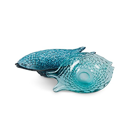 Lone Elm Studios 94324 S/2 Glass Fish Bowls Christmas 15.75InL x 10.25InW x 3.5InH Blue (Candy Shell Dish)