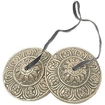 Tingsha Cymbals Tibetan Buddhist Lucky Symbol Embossed Meditation Yoga Bell Chimes (Medium, Silver Vajra Symbol)