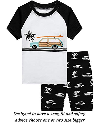 (Little Boys 2 Piece Short Pajamas Car 100% Cotton Toddler Pjs Summer Kids Clothes 2t)