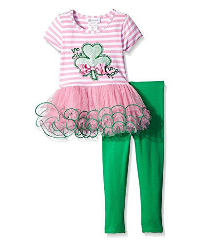 Bonnie Jean Baby-Girls St Patrick's Day Shamrock Legging Set (12 Months, Pink) -