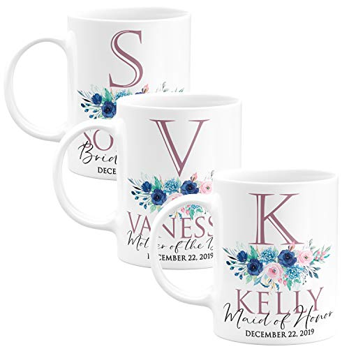 Personalized Wedding Gifts Bridesmaid Coffee Mug - 11oz & 15oz Large Ceramic Coffee Cup with Matching Coaster - Custom Bridesmaid Gifts, Bachelorette Party Favors - Design 3 - Set of 3