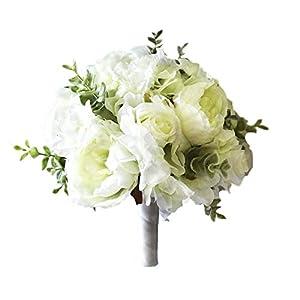 Wedding Botanicals Silk White Rose, Peony & Eucalyptus Bouquet, Round 6